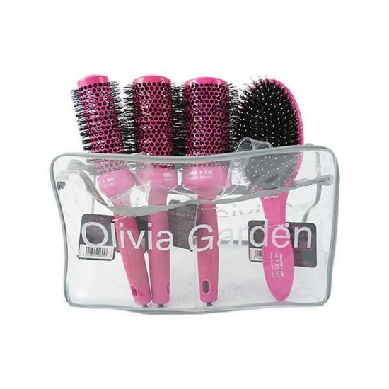 Husa 4 perii roz Olivia Garden perii ceramic+Ion Thermal Brush 35+45+55+Combo roz